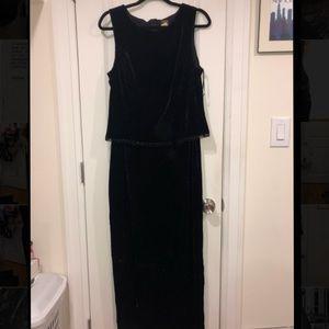 Vintage black velvet evening gown